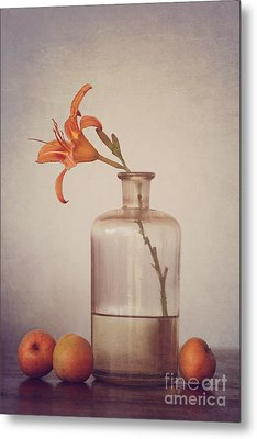 Still Life With Apricots Metal Print by Diana Kraleva