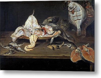 Still Life With Fish And A Cat Metal Print by Alexander Adriaenssen