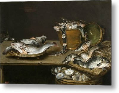 Still Life With Fish Oysters And A Cat Metal Print by Alexander Adriaenssen