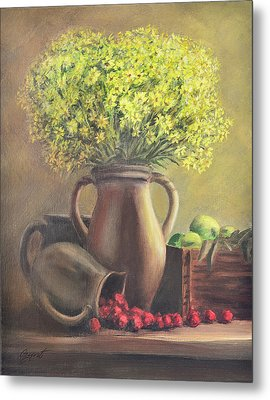 Still Life With Flowers And Fruits Metal Print by Gynt Art
