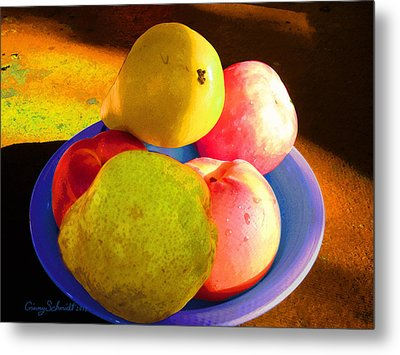 Still Life With Fruit Metal Print by Ginny Schmidt