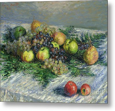 Still Life With Pears And Grapes Metal Print by Claude Monet