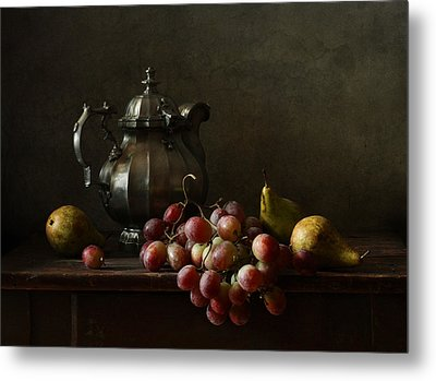 Still Life With Pewter Teapot And Grapes And Pears  Metal Print by Diana Amelina