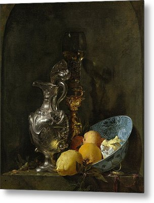Still Life With Silver Pitcher Metal Print by Willem Kalf
