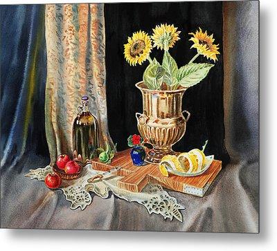 Still Life With Sunflowers Lemon Apples And Geranium  Metal Print by Irina Sztukowski