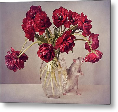 Still Life With Tulips :) (expensive Vase.....uploaded For The Weekly Theme expensive Metal Print by Ellen Van Deelen
