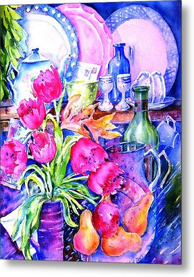 Still Life With Tulips  Metal Print by Trudi Doyle