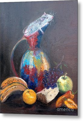 Still Life With White Mouse Metal Print by Irene Pomirchy