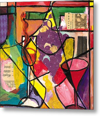 Still Life With Wine And Fruit B Metal Print by Everett Spruill