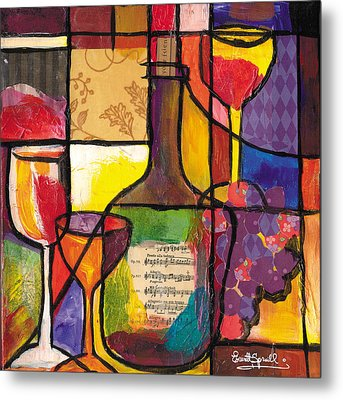 Still Life With Wine And Fruit Metal Print by Everett Spruill