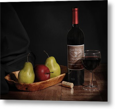 Still Life With Wine Bottle Metal Print by Krasimir Tolev
