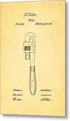 Stillson Wrench Patent Art 1870 Metal Print by Ian Monk