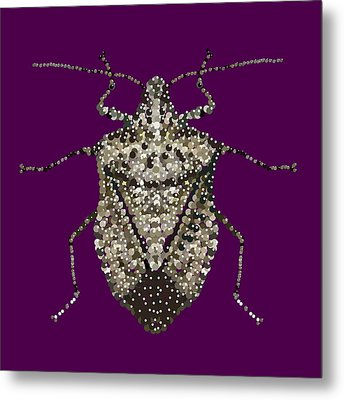 Stink Bug Bedazzled Metal Print by R  Allen Swezey