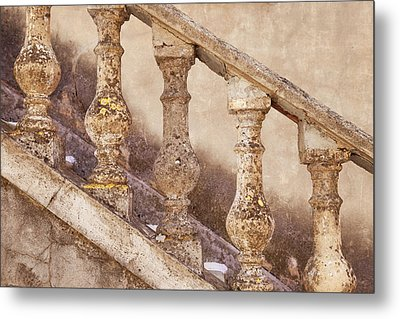 Stone Balusters And Staircase Leading Metal Print by Brian Jannsen