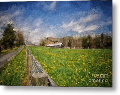 Stone Barn On A Spring Morning Metal Print by Lois Bryan