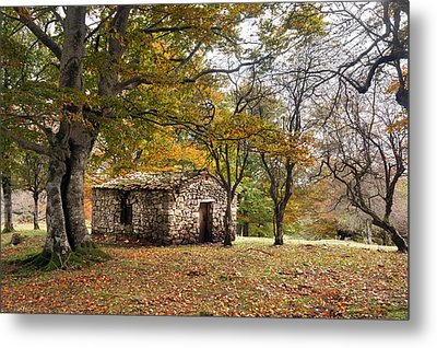 Stone Cabin In Autumn Forest Metal Print by Mikel Martinez de Osaba
