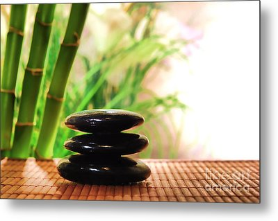 Stone Cairn Metal Print by Olivier Le Queinec