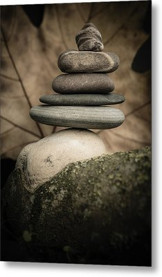 Stone Cairns Iv Metal Print by Marco Oliveira