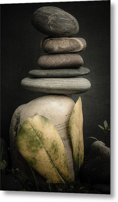 Stone Cairns V Metal Print by Marco Oliveira
