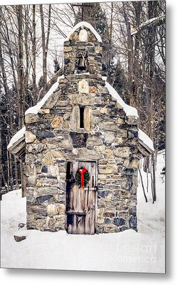 Stone Chapel In The Woods Trapp Family Lodge Stowe Vermont Metal Print by Edward Fielding