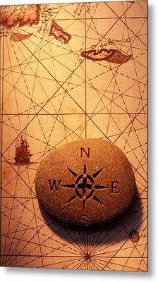 Stone Compass On Old Map Metal Print by Garry Gay