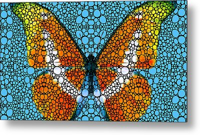 Stone Rock'd Butterfly By Sharon Cummings Metal Print by Sharon Cummings
