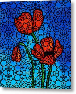 Stone Rock'd Poppies By Sharon Cummings Metal Print by Sharon Cummings