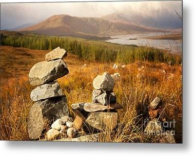 Stone Stacks In The Highlands Metal Print by Jane Rix