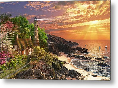 Stoney Cove Lighthouse Metal Print by Dominic Davison