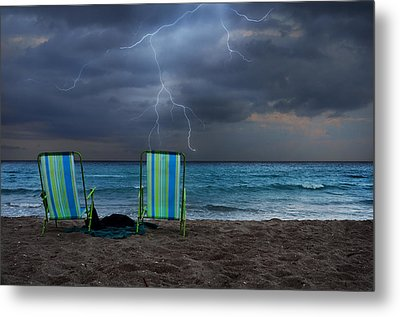 Storm Chairs Metal Print by Laura Fasulo