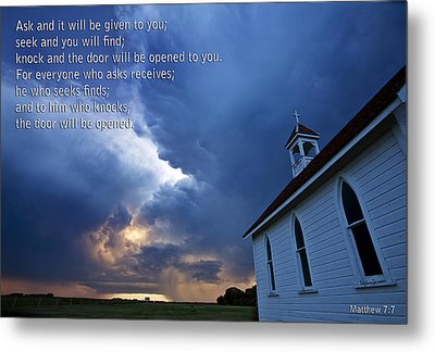Storm Clouds And Scripture Matthew Country Church Metal Print by Mark Duffy