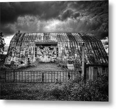 Storm Coming In On The Farm Metal Print by Thomas Young