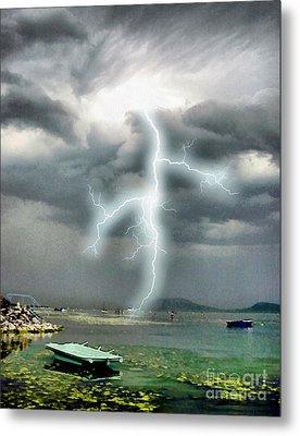Storm On Balaton Lake Metal Print by Odon Czintos