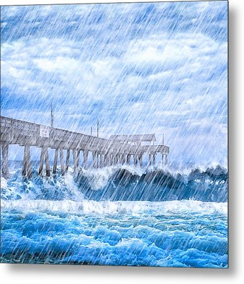 Storm Over The Sea - Tybee Pier Metal Print by Mark E Tisdale