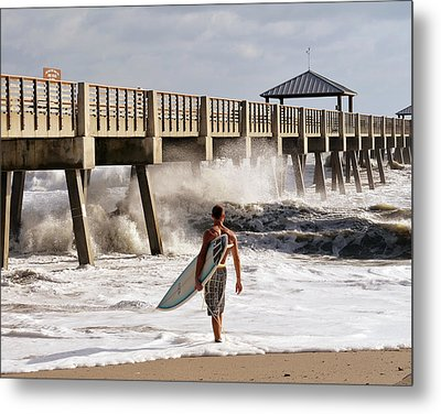 Storm Surfer Metal Print by Laura Fasulo
