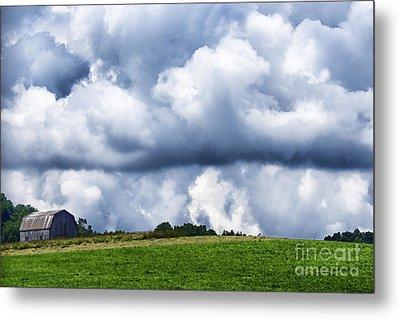 Stormy Sky And Barn Metal Print by Thomas R Fletcher