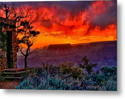 Stormy Sunset At The Watchtower Metal Print by Greg Norrell