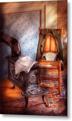 Stove - The Stove And The Chair  Metal Print by Mike Savad