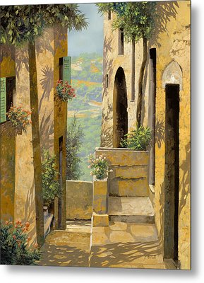 stradina a St Paul de Vence Metal Print by Guido Borelli