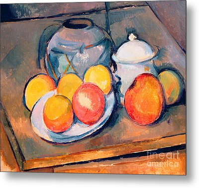 Straw Covered Vase Sugar Bowl And Apples Metal Print by Paul Cezanne