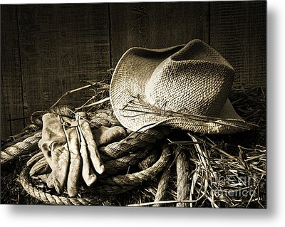 Straw Hat With Gloves On A Bale Of Hay Metal Print by Sandra Cunningham