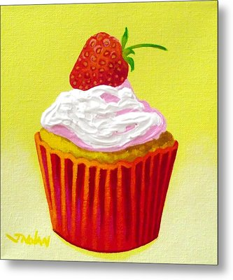 Strawberry Cupcake Metal Print by John  Nolan