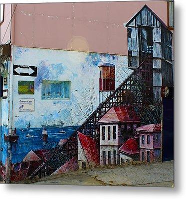 Street Art Valparaiso Chile 17 Metal Print by Kurt Van Wagner