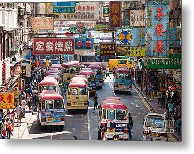 Street Scene In Hong Kong Metal Print by Matteo Colombo