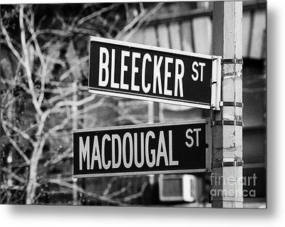 street signs at junction of Bleeker st and Macdougal street greenwich village new york city Metal Print by Joe Fox
