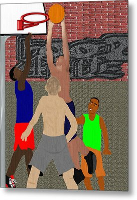 Streetball Shirts And Skins Hoopz 4 Life Metal Print by Pharris Art