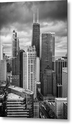 Streeterville From Above Black And White Metal Print by Adam Romanowicz