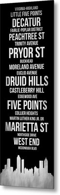 Streets Of Atlanta 2 Metal Print by Naxart Studio