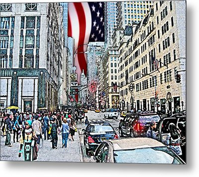 Streets Of Manhattan 2 Metal Print by Mario Perez