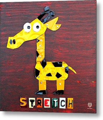 Stretch The Giraffe License Plate Art Metal Print by Design Turnpike